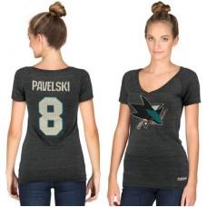 San Jose Sharks Dámske - Joe Pavelski Tri-Blend V-Neck NHL Tričko