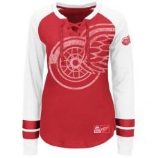 Detroit Red Wings Dámske - Vintage Hip Check Lacer NHL Tričko s dlhým rukávom