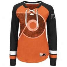 Philadelphia Flyers Dámske - Vintage Hip Check Lacer NHL Tričko s dlhým rukávom