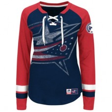 Columbus Blue Jackets Dámske - Vintage Hip Check Lacer NHL Tričko s dlhým rukávom