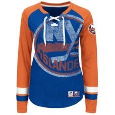 New York Islanders Dámske - Vintage Hip Check Lacer NHL Tričko s dlhým rukávom