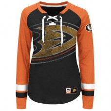 Anaheim Ducks Dámske - Vintage Hip Check Lacer NHL Tričko s dlhým rukávom