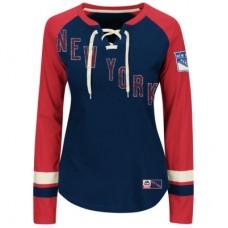 New York Rangers Dámske - Vintage Hip Check Lacer NHL Tričko s dlhým rukávom