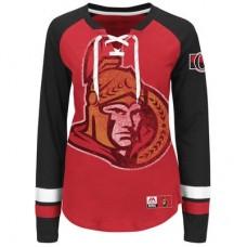 Ottawa Senators Dámske - Vintage Hip Check Lacer NHL Tričko s dlhým rukávom