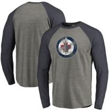 Winnipeg Jets - Distressed Team Tri-Blend Raglan NHL Tričko s dlhým rukávom