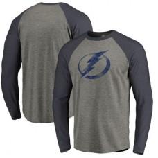 Tampa Bay Lightning - Distressed Team Tri-Blend Raglan NHL Tričko s dlhým rukávom