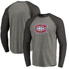 Montreal Canadiens - Distressed Team Tri-Blend Raglan NHL Tričko s dlhým rukávom