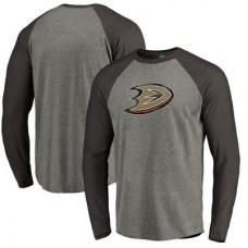 Anaheim Ducks - Distressed Team Tri-Blend Raglan NHL Tričko s dlhým rukávom