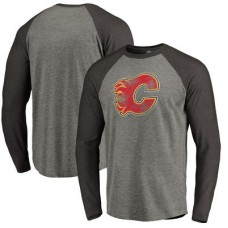 Calgary Flames - Distressed Team Tri-Blend Raglan NHL Tričko s dlhým rukávom