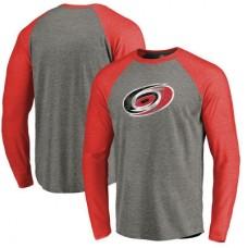 Carolina Hurricanes - Distressed Team Tri-Blend Raglan NHL Tričko s dlhým rukávom