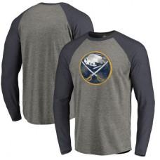 Buffalo Sabres - Distressed Team Tri-Blend Raglan NHL Tričko s dlhým rukávom