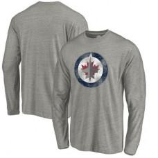 Winnipeg Jets - Distressed Team Tri-Blend NHL Tričko s dlhým rukávom