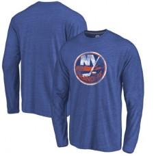 New York Islanders - Distressed Primary Logo NHL Tričko s dlhým rukávom