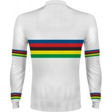 Dúhový cyklo dres - dlhý rukáv - biela