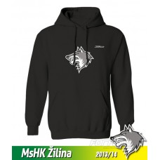 Bavlnená detská mikina s kapucňou a výšívkou MsHK Žilina 2013/14 - čierna
