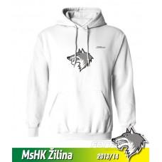 Bavlnená detská mikina s kapucňou a výšívkou MsHK Žilina 2013/14 - biela