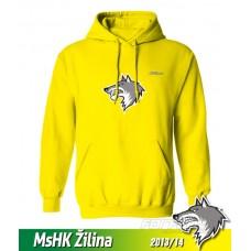 Bavlnená detská mikina s kapucňou a výšívkou MsHK Žilina 2013/14 - žltá