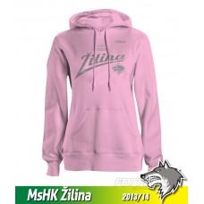 Bavlnená dámska mikina s kapucňou MsHK Žilina 2013/14 - ružová