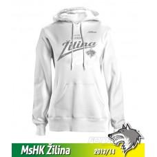 Bavlnená dámska mikina s kapucňou MsHK Žilina 2013/14 - biela