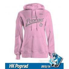 Dámska bavlnená mikina s kapucňou HK Poprad 2013/14 - ružová