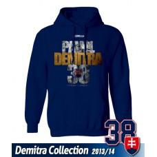 SLOVENSKO Mikina s kapucňou Pavol Demitra 21 - modrá–tmavomodrá