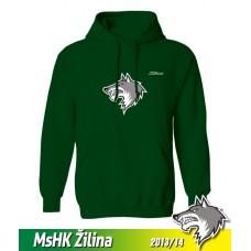 Bavlnená detská mikina s kapucňou a výšívkou MsHK Žilina 2013/14 - zelená