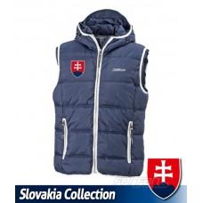 Vesta s výšivkou Slovensko - modrá–tmavomodrá