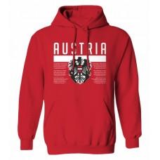Mikina s kapucňou Rakúsko vz. 1 - červená