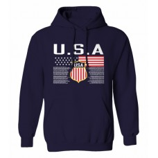 Mikina s kapucňou USA - modrá–tmavomodrá