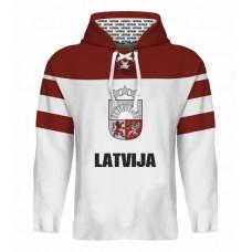 Sublimovaná mikina s kapucňou Lotyšsko svetlá