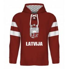 Sublimovaná mikina s kapucňou Lotyšsko tmavá