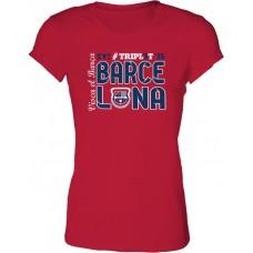 Dámske SlimFit tričko Penya Barcelonista Eslovaca vz.2 - červená
