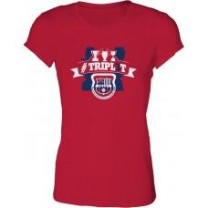 Dámske SlimFit tričko Penya Barcelonista Eslovaca vz.3 - červená