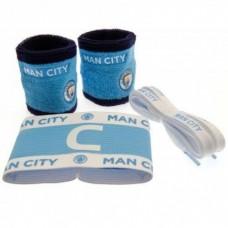 Accessories set MANCHESTER CITY (2x potítko, kapitánska páska, šnúrky do topánok)