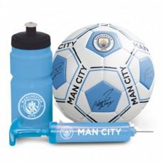 Futbalová darčeková sada MANCHESTER CITY (lopta, pumpa, plastová fľaša)