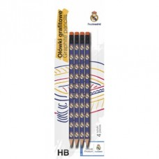 4ks obyčajná ceruzka HB s gumou REAL MADRID, blister, 206015003