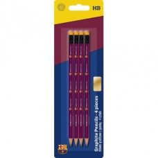 4ks obyčajná ceruzka HB s gumou FC BARCELONA, 206018002