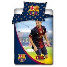 Obojstranné bavlnené posteľné obliečky FC BARCELONA Iniesta (7112)